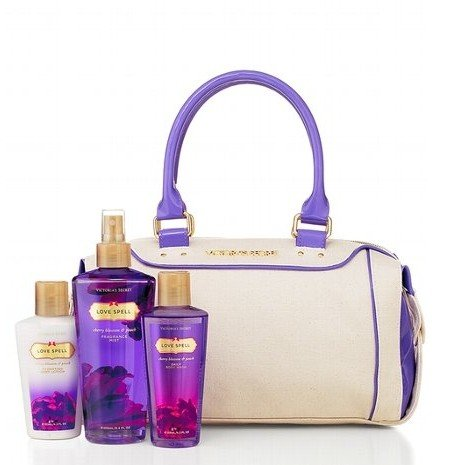 Victoria's Secret Love Spell Purse Set - Mist 8.4 oz, 8.4 oz Body Wash and 4.2 oz Lotion