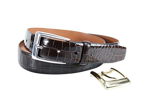 Lawrence Alligator Embossed Leather Belt Brown Size 32