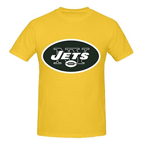 NFL New York Jets Team Logo Crew Neck Men Graphic T Shirts Yellow (Lakers Cheerleading Outfit)