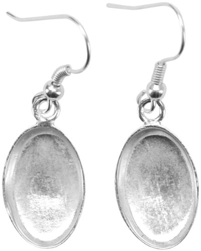 Amate Studios Base Elements Oval Dangle Earring Bases, 1-Pair/Pkg, Silver Overlay, 10.15-Millimeters-By-16-Millimeters