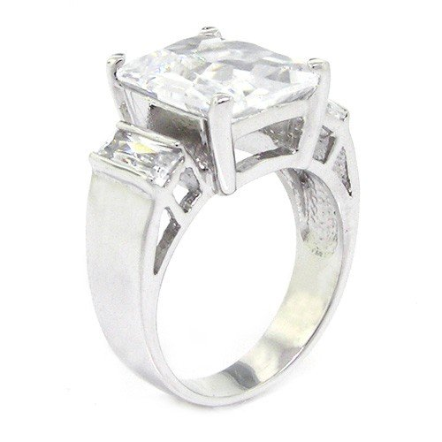 Sterling Silver Classic Engagement Ring w/Radiant White CZ Size 6