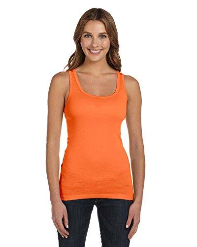 Bella + Canvas Ladies' Sheer Mini Rib Tank Top, Orange Sorbet, XX-Large