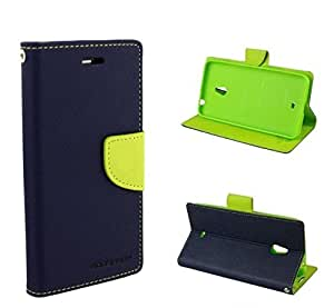 BRAND AFFAIRS Luxury Mercury Goospery Fancy Wallet Imported Original Premium Quality Fancy Folding Flip Folio with Stand View Faux Leather Mobile Flip Cover and 2 cards slot Stand Case Cover For Samsung Galaxy Grand Max G7200 (Blue&Green)