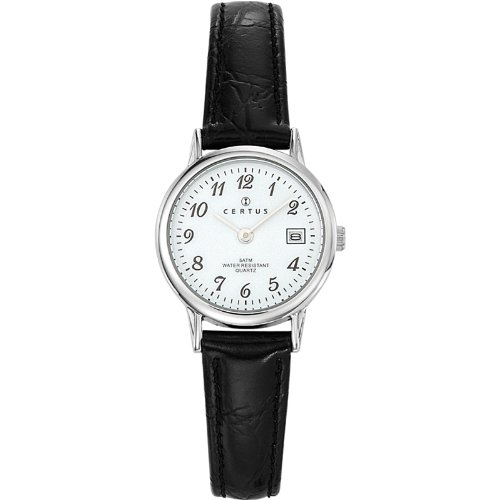 Certus 644391 - Ladies Watch - Analogue Quartz - White Dial - Black Leather Strap