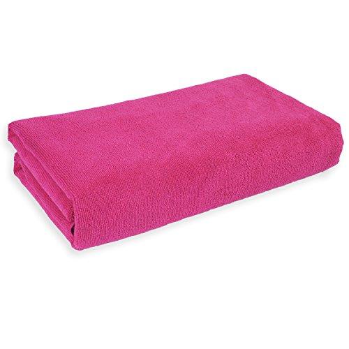 Mikrofaser Badetuch XXL, sehr saugfähig, 180 x 75 cm, Strandtuch Badetuch Sauna Microfaser Tuch pink