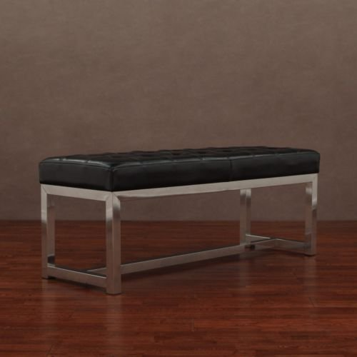 Black Leather Bench Can Be Used In An Entryway, Hallway, Home Office, Den Or Accent To Any Room. Can Be Used As Seating Or Storage front-754378