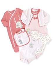 6 Piece Pure Cotton Tiny Tatty Teddy Floral Starter Set