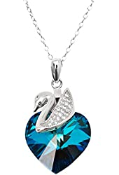 Sterling Silver Blue Heart Shape Swan Pendant Made With Swarovski Elements