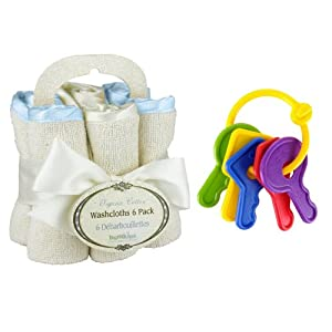 Bumkins NW6-345 Organic Washcloth 6-Pack Set in Blue + First Keys Teether Teething Ring