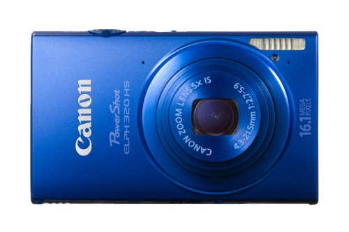 Canon 6030B003 PowerShot ELPH 320 HS 16.1 MP Wi-Fi Enabled CMOS Digital Camera with 5x Zoom 24mm Wide-Angle Lens and Case (Blue)
