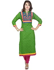 Amour Green Cotton Cambric 60S Straight Kutch Embroidered Kurti For Women