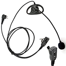 buy Arama A109M01 Pro D Shape Earpiece Headset With Boom Mic Push To Talk And Vox For Motorola Cobra Talkabout Dual Pin 2 Way Radio