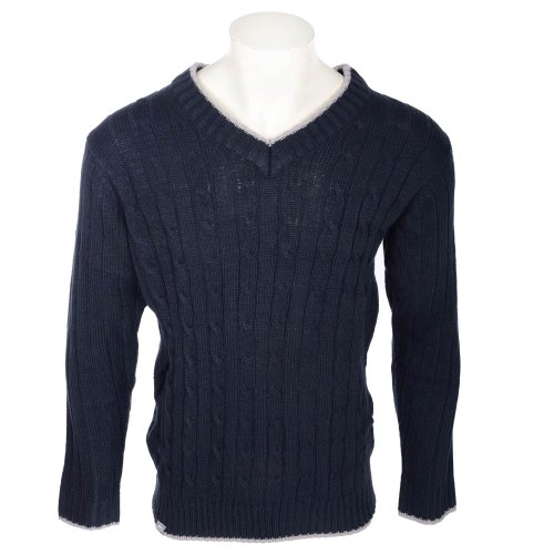 Slazenger Men's Navy Cable V Neck Knitted Jumper in Size Large