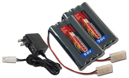 Combo: 2 pcs Tenergy 9.6V 2000mAh NiMH High Capacity Battery Packs + 15V 400mah Simple Pack Charger (for 8.4V-12V packs) for RC Car, Robots, Security