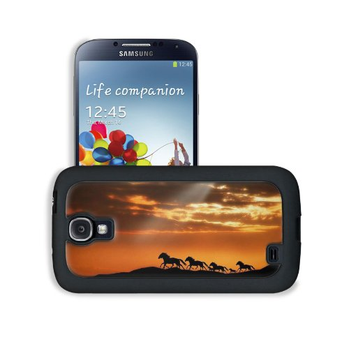 Horse Herd Sunset Silhouettes Escape Samsung Galaxy S4 Snap Cover Leather Design Back Plate Case Customized Made To Order Support Ready 5 3/16 Inch (132Mm) X 2 13/16 Inch (71Mm) X 4/8 Inch (12Mm) Liil Galaxy_S4 Professional Leather Plastic Cases Touch Acc front-950827