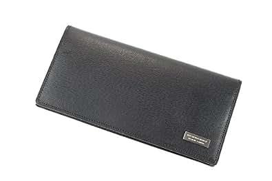 バーバリー ブラックレーベル かぶせ長財布 メンズ ブラック burb001