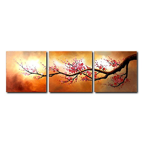 VASTING ART 3-Panel 100% Hand-Painted Oil Paintings Landscape Trees Floral Wintersweet Flowers Modern Abstract Artwork Stretched Wood Framed Ready Hang Home Decoration Wall Decor Living Room Bedroom (Pewter Tea Service compare prices)