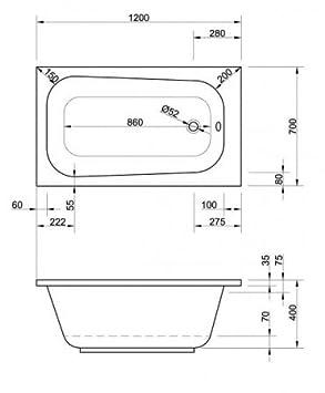 acryl badewanne 120 x 70 x 40 cm wei dc292. Black Bedroom Furniture Sets. Home Design Ideas
