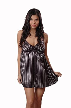 Printed Charmeuse Chemise w/ Empire Waistline-Women's Medium Black Stripes