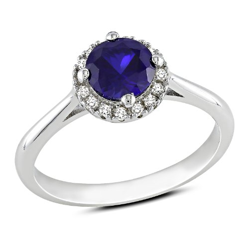 Sterling Silver 1 CT TGW Created Sapphire 1/10 CT TDW Diamond Fashion Ring (G-H, I3)