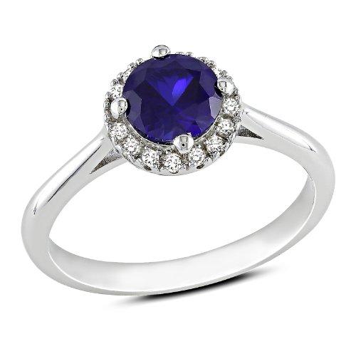 Sterling Silver 1 CT TGW Created Sapphire 1/10 CT TDW Diamond Fashion Ring (G-H, I3)