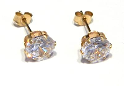 6mm CZ Stud Earring - Genuine 9ct Gold and Cubic Zirconia. With Small (3mm) Butterfly BackS