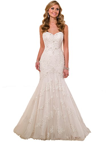 ebe3ee30fd Angel Formal Dresses Women s Sweetheart Applique Beading Mermaid Lace  Wedding dress (12
