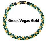Baseball Tornado Titanium Sports Necklace (Vegas Gold - Green) 18""