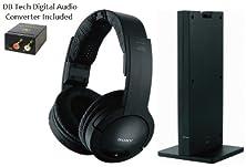 buy Sony 150 Feet Long Range Rf Wireless Dynamic Stereo Noise Reducing Headphones With Volume Control & Wide Comfortable Headband + Db Tech Digital To Analog Audio Converter For All Toshiba 32C100U, 32C110U, 37E200U, 40E200U & 40E210U Led Lcd Hdtv Large Scree