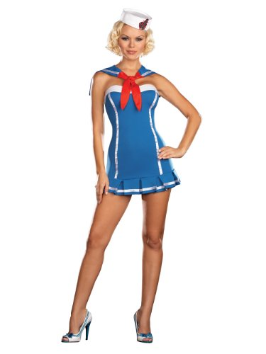 Sexy Sailor Dress Naval Uniform Navy Military Costume Blue Mini Dress