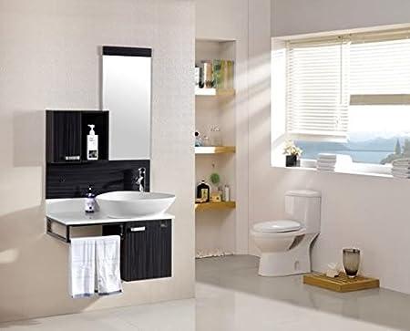 Mobile bagno completo di lavabo rubinetto pensile e specchio l80