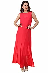 Fasense Women's Solid Maxi Western Evening Gown FD001 (X-Large, Corel Pink)