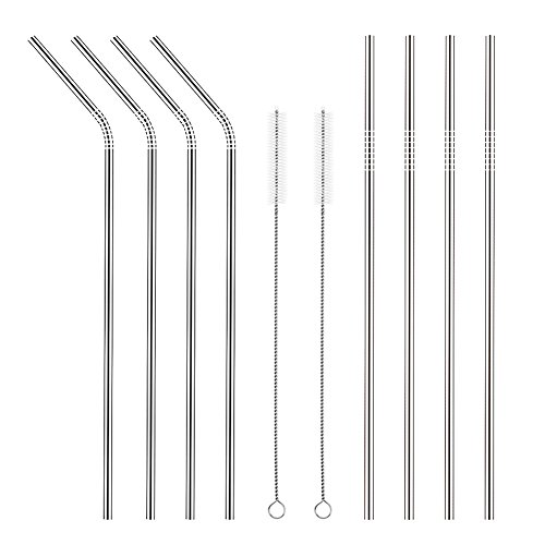Stainless Steel Drinking Straws, Set of 8, Long Length, 2 Free Cleaning Brushes Included