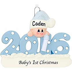 Baby's First Christmas Ornament 2016 - Blue/Boy - FREE Personalization