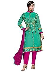 Aarti Lifestyle Women's Chanderi Silk Embroidered Green Unstitched Salwar Suit