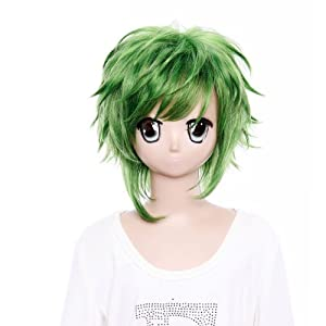 SureWells Hair wig Vocaloid Gumi Poker face Green Fluffy Wigs Cosplay Wigs Party Wigs Costume Wigs
