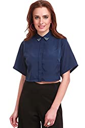 Beaded Collar Cropped Blue Shirt