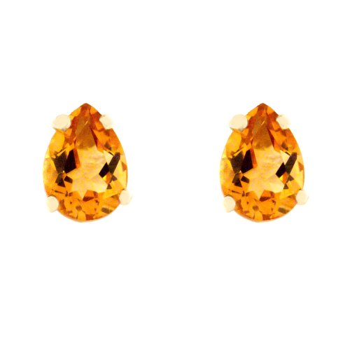 10k Yellow Gold Pear Shaped Citrine Stud Earrings