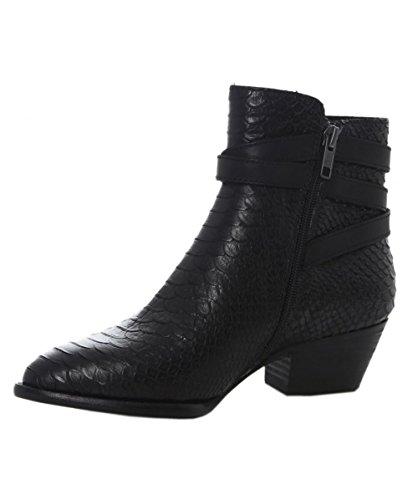 Ash Da Donna Lois goffrato pelle stivali alla caviglia 39 Nero
