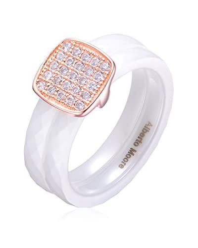 Alberto Moore CZ & Faceted White Ceramic Double-Row Ring, White/Rose