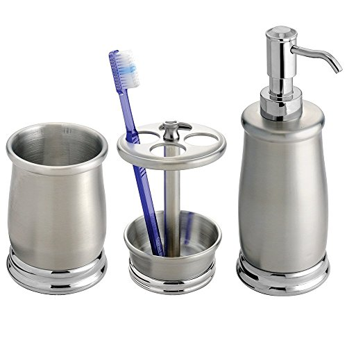 Mdesign Stainless Steel Bath Accessory Set Soap Dispenser