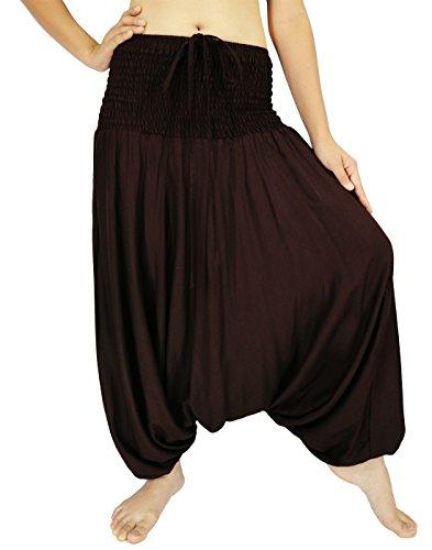 Rosina Donna Harem Smocked Vita 2tipi tuta pantaloni Brown Dimensioni dell'etichetta