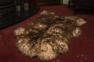 Luxury Natural Sheepskin Rug Spiced Brown Silky Smooth Wool XXL Leather Heritage