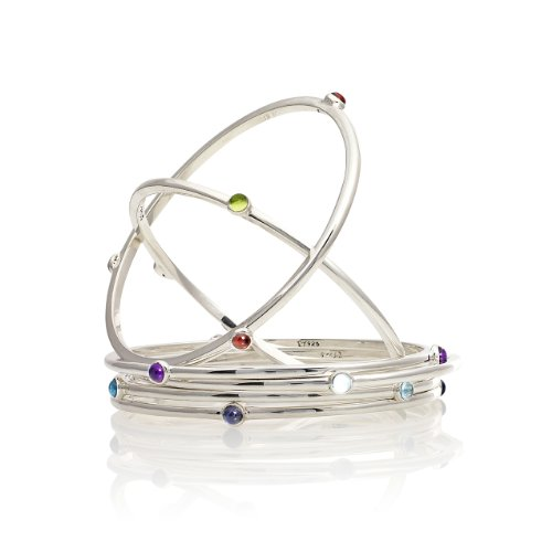 Silver Bangle With Gemstones - Peridot