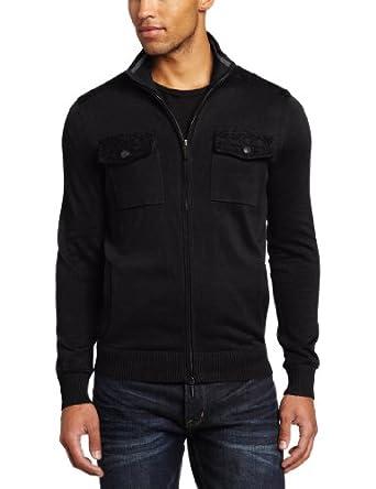 Kenneth Cole New York Men's Full Zip Double Pocket Mock Neck Sweater, Black, Medium