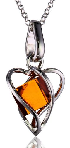 Millennium Collection Certified Genuine Honey Amber and Sterling Silver Heart Pendant Rolo Chain 18