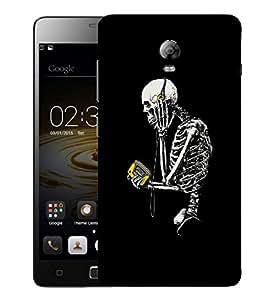 Snoogg Skeleton With Walkman Designer Protective Back Case Cover For LENOVO P1 TURBO