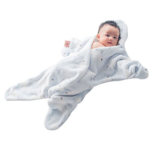 GreForest-Netter Seestern Säuglingsschlafsack -Flanell-Baby-Swaddle neugeborener Säugling Schlafsack Wearable Swaddle Decke Anti-Treten Quilt (blau)