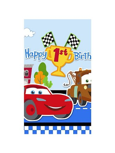 Cars 1st Birthday Plastic Table Cover (1ct)
