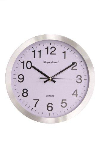 JustNile Modern Minimalist Round 12-inch Non Ticking Quiet Wall Clock - Silver & White